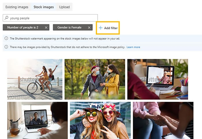 Product view of Shutterstock filters used to search for images to use in your ads.