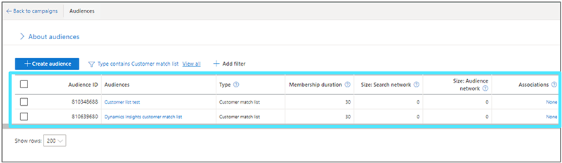 Product view of the where to find the new Dynamics 365 Customer Insights segment in the Microsoft Advertising interface.
