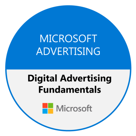 Digital Advertising Fundamentals badge, received after completion of the course.