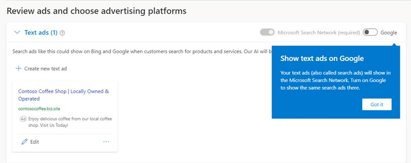 Product view of window where you can review ads and choose the advertising platforms.