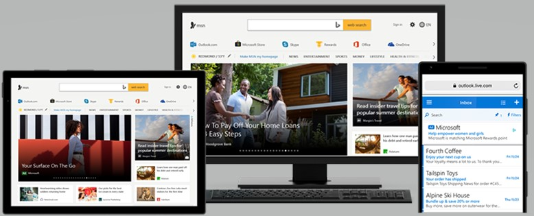 Examples of Microsoft Audience Ads on tablet, desktop and mobile.