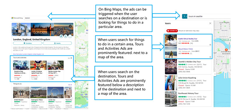 Tours and Activities ad example showing Bing maps results. Tour and Activities ads are prominently displayed next to a map of the area when users search on a destination.