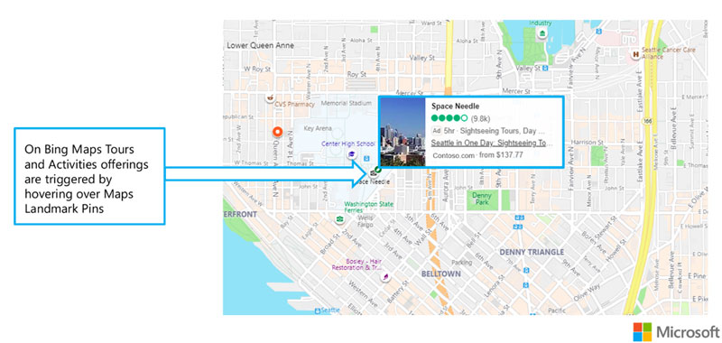Tours and Activities ad example showing Bing maps results. Tour and Activities ads are triggered by hovering over Maps landmark pins.