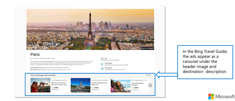 Tours and Activities ad example showing Bing Travel Guide results. The ads appear as a carousel under the header image and description.