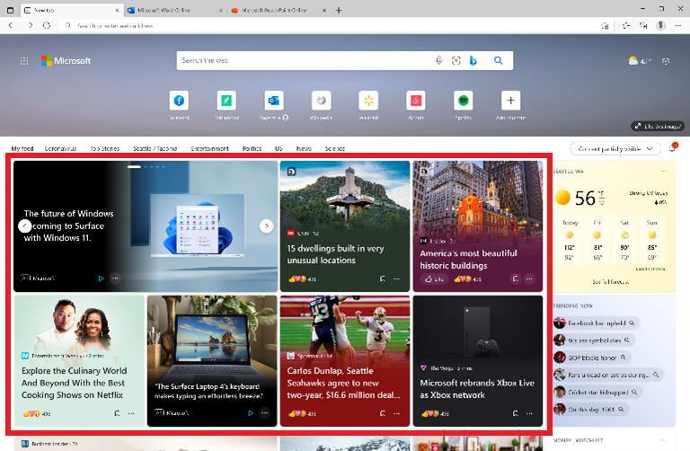 Product view of Microsoft Audience Network native ads in the Edge new tab page.