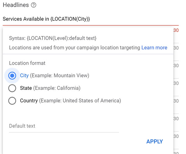 Product view of the location insertions interface from campaign location targeting.