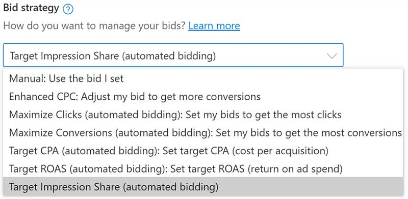 Product view of the Target impression share selected on the bid strategy dropdown list.