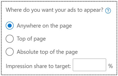 Product view of the popup window showing selection options for where you want your ads to appear on the page.
