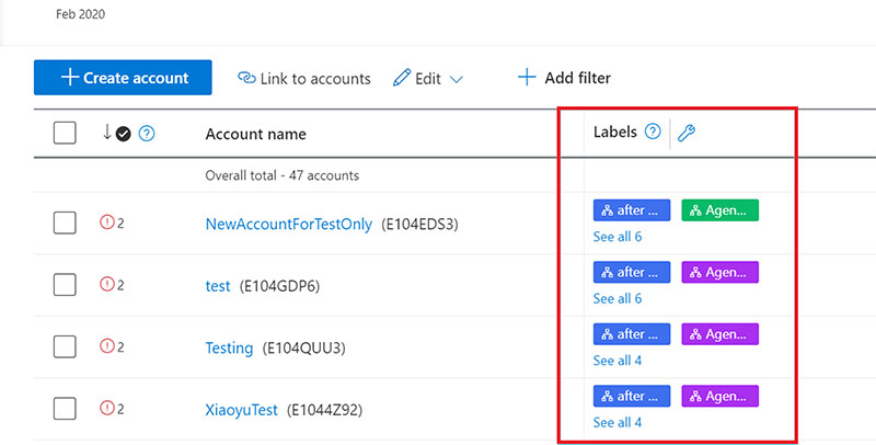Product view of the new account labels column feature after being added to your account grid view.