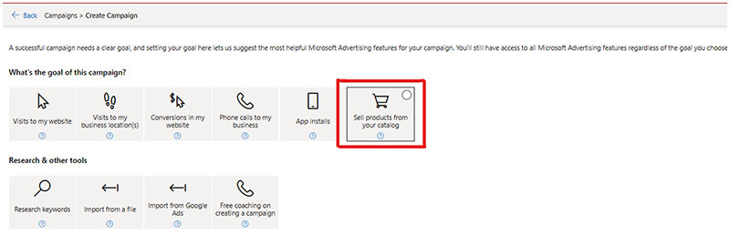 """Product view of the Create Campaign window, displaying the """"Sell products from your catalog"""" tile."""