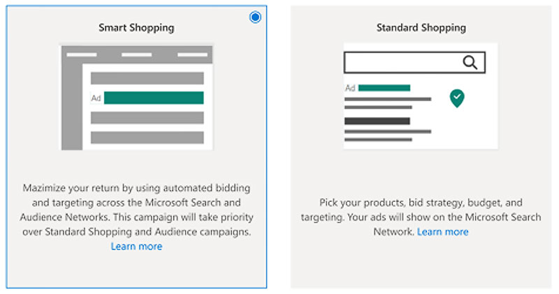 Product view of the Smart Shopping tile selected on the Campaign subtype page.