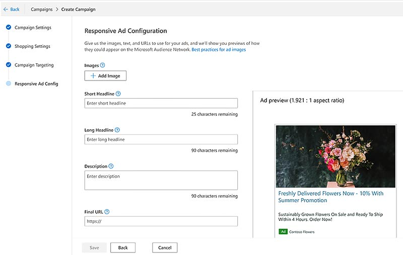 Product view of the Responsive Ad Configuration dialogue on the Create campaign interface page.