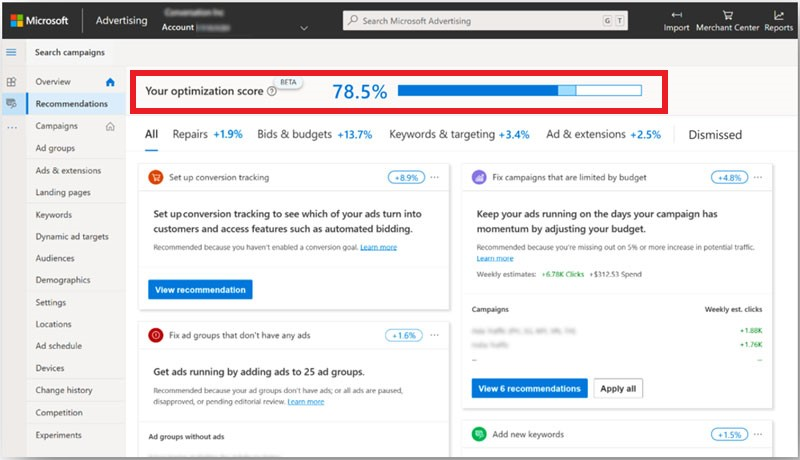Product view of the Recommendations page, with Optimization Score displayed at the top.