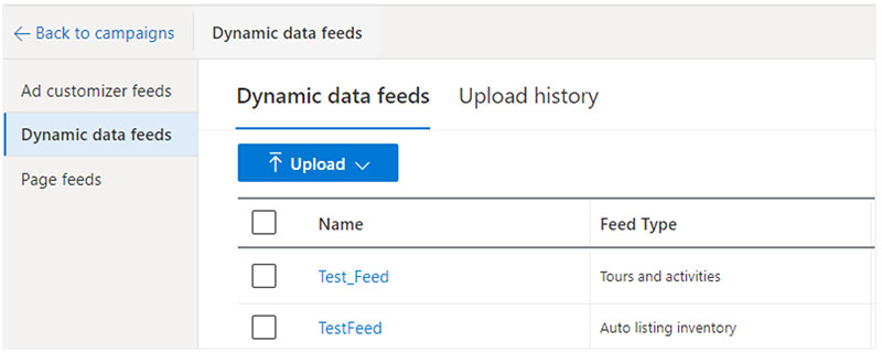 Product view of the Dynamic data feeds upload interface.