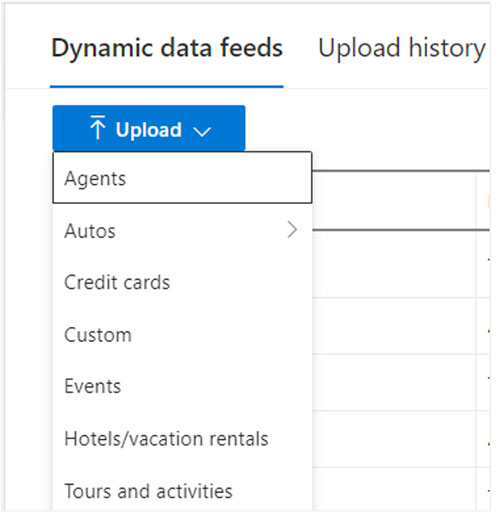 Product view of the Dynamic data feeds upload interface, displaying choices for feed schemas for various verticals.