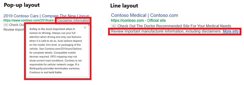 Sample ads with disclaimers, in both pop-up and line layout formats.