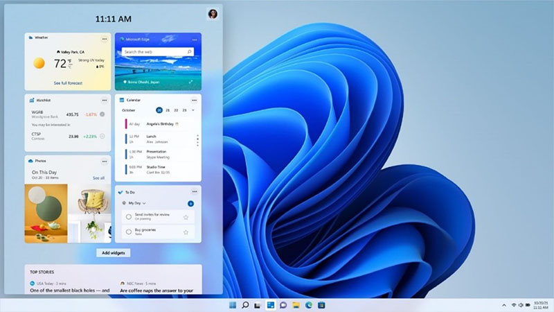 Image of Widgets in the new Windows 11 interface