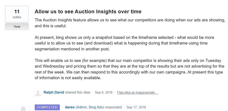 Auction insights request in UserVoice forum