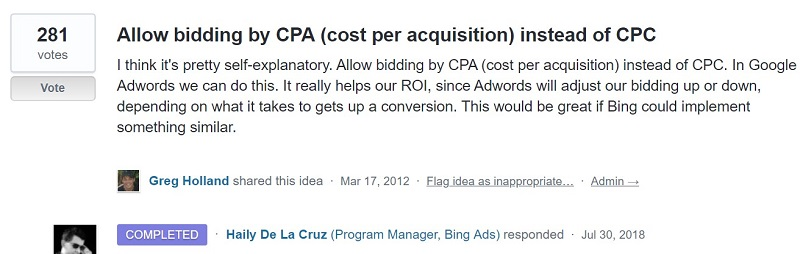 Bidding by CPA request in UserVoice forum