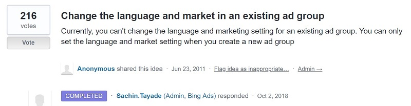 Change the language and market request in UserVoice forum
