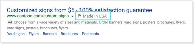 capture d'écran d'une copie d'annonce montrant le badge du pays d'origine (« Country of Origin Badge ») visualisé par un petit drapeau et le texte « Made in USA » près du lien de l'annonce.