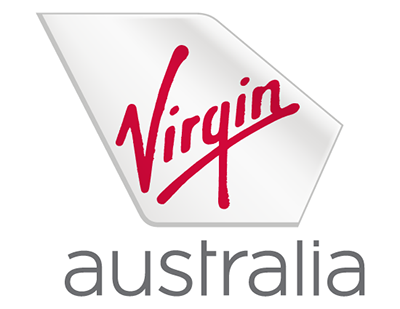 "An icon depicting the rudder of a plane with the word ""Virgin"" written in red tile case script over it. Below the icon is the word ""Australia"" in lowercase grey font."