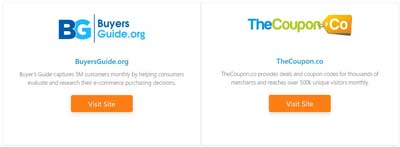 TheCoupon.co, offers deals and coupon codes and Buyersguide.org, helps consumers research and evaluate their online purchasing decisions on a wide variety of products.