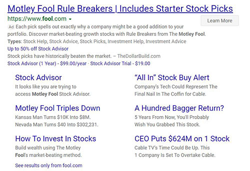 The Motley Fool paid search ad