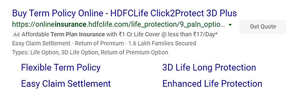 HDFC Life search ad on Microsoft Advertising.