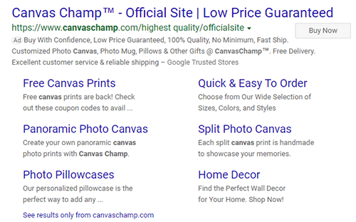 CanvasChamp search ad on Microsoft Advertising.