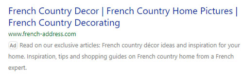 French Address search ad on Microsoft Advertising.