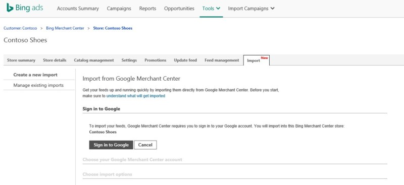 Import from Google Merchant Center log in for Bing Ads