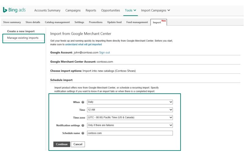 Bing Ads GMC Import tool options screen