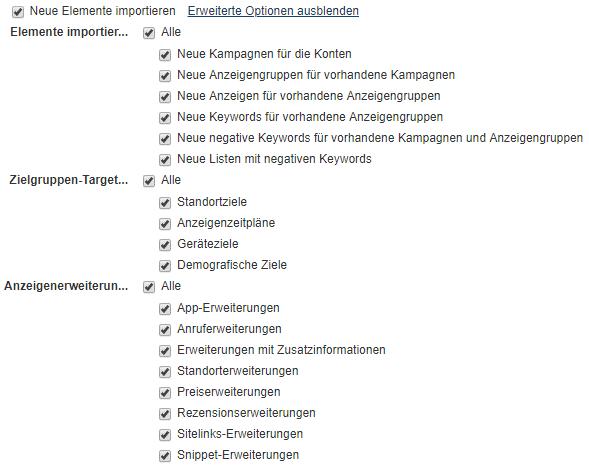 Auswahl der Optionen für den Import von Elementen