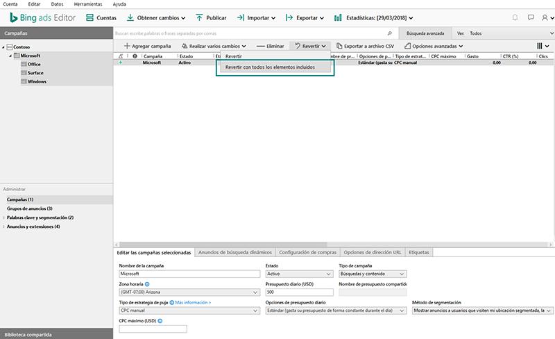 Revertir todos los elementos incluidos para Bing Ads Editor