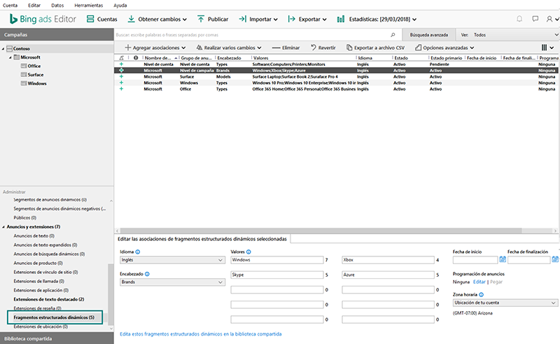 Captura de pantalla de fragmentos estructurados dinámicos compartidos para Bing Ads Editor