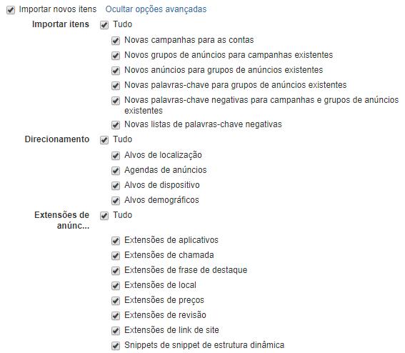 Seleção das opções em Importar itens