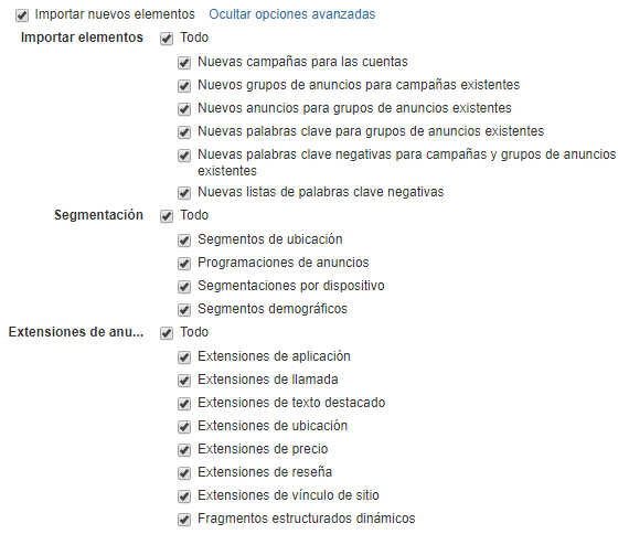 Selección de opciones para los elementos de importación