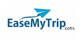 Ease My Trip written in title case format in a sky blue. An icon of blue paper airplane hovers over the center of the logo.