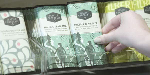 The Seattle Chocolate brand refresh includes new bars such as Hikers Trail Mix, embracing the Pacific Northwest.