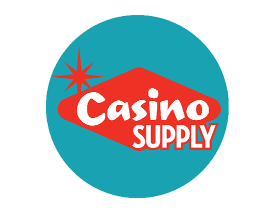 Image of the Casino Supply logo showing the name Casino Supply in white text over a vertical red diamond. A teal circle surrounds then entire image as a background.