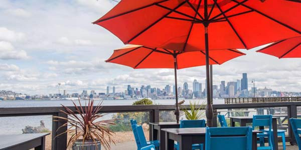 Waterfront marination patio, located in Seattle, WA.