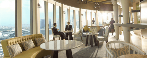 Two business men sitting at Pan Pacific club view, located at Pan Pacific Singapore hotel