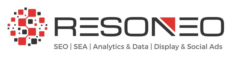 Image du logo RESONEO représentant le nom RESONEO accompagnée d'une sorte de sphère, noir et rouge, sur sa gauche.