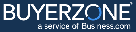 "Image of the BuyerZone logo showing the name BuyerZone spelled out in white capital letters. The ""O' of the word ""BuyerZone"" is shown half in white and half in blue."
