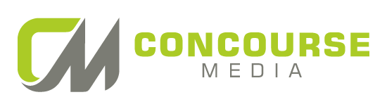 "Concourse Media written in all caps with the word ""Concourse"" above the word ""Media."" A logo depicting a capital C in lime green and capital M in gray are to the left of the text."