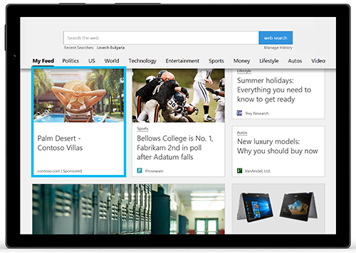 Thumbnail screenshot of a Microsoft Audience Ad displayed within content on Microsoft Edge.