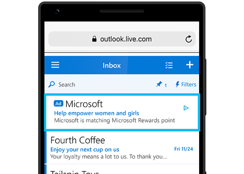 Thumbnail screenshot of a Microsoft Audience Ad displayed within content on Outlook.