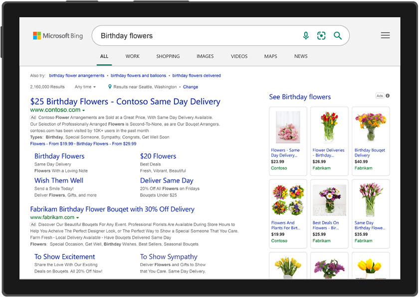Example of search ads on Microsoft Bing