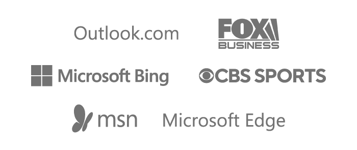 Brand logos for Outlook.com, Fox Business, Microsoft Bing, CBS Sports, MSN, and Microsoft Edge